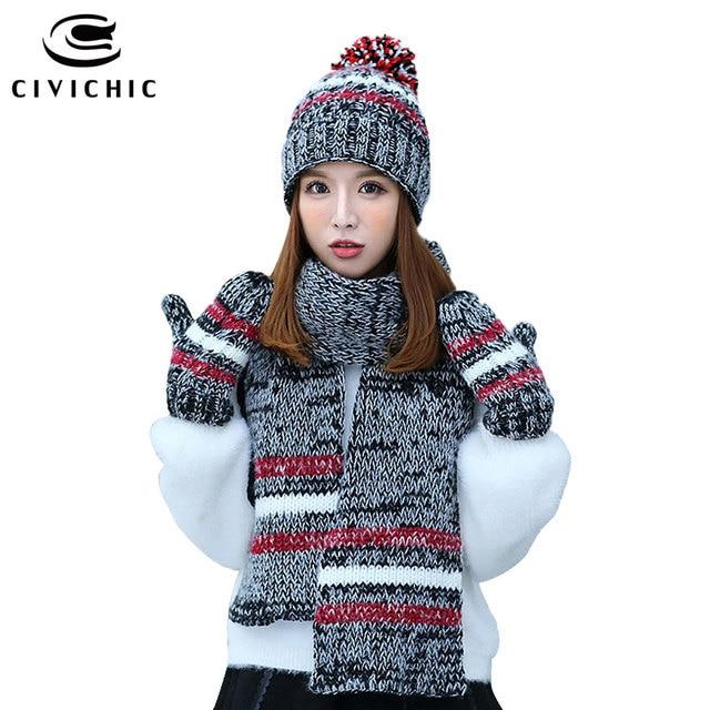 Civichic caliente regalo invierno tejer sombrero bufanda Guantes 3 unids  mujer chic Pompon beanies rayas mantón 4a5cd0a71da