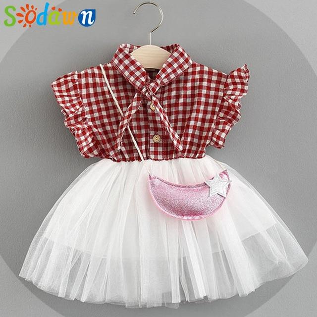 085a80e2f3c81 Sodawn شعرية الدانتيل شبكة اللباس مع أكياس صغيرة 2018 الجديدة الفتيات الصيف  طفل اللباس ملابس اطفال