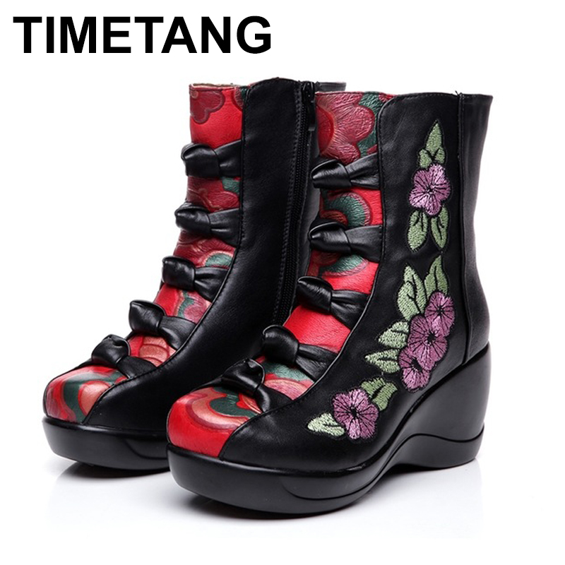 TIMETANG    Womens Boots 2018 Autumn Winter New Genuine Leather Wedges Shoes Embroidered Flower Medium-leg warm High Heel BootsTIMETANG    Womens Boots 2018 Autumn Winter New Genuine Leather Wedges Shoes Embroidered Flower Medium-leg warm High Heel Boots