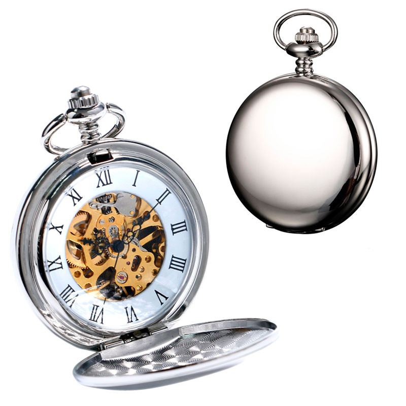 2016 New Arrival Silver Smooth Double Full Hunter Case Steampunk Skeleton Dial Mechanical Pocket Watch With Chain Gift