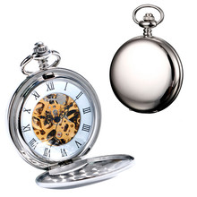 лучшая цена 2016 New Arrival Silver Smooth Double Full Hunter Case Steampunk Skeleton Dial Mechanical Pocket Watch With Chain Gift
