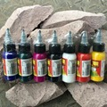Tiempo negro tintas de 7 Colores Juego de Tintas de Pigmento de Tatuaje Completo Kit de 1 oz (30 ml)
