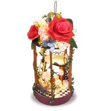 цена на Flower DIY Doll House Toy Wooden Miniatura Doll Houses Miniature Dollhouse Toys With Furniture Dust Cover Birthday Gift TC5