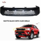 LED GRILL PICKUP TRUCK FRONT GRILL GRILLE fit for HILUX REVO SR5 M70 M80 2015-2017 STYLE RAPTOR GRILL MATT BLACK pickup car