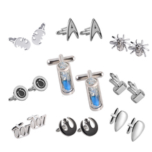 7 Style High Quality Spider Number Symbol Hourglass Unique Men Cuff Links Shirt Accessories Silver Metal Gemelos Gifts