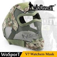 WOSPORT Taktik V7 Gözlemcileri Tam Yüz Metal Net Örgü Korumak gaz Maskesi Örtüsü Kulak Sapan için Askeri Cosplay Silah Oyunu Airsoft