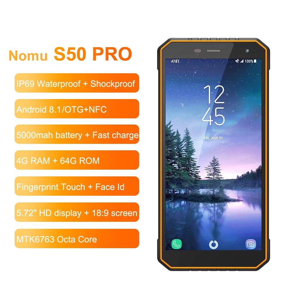 US $239 28 33% OFF Nomu S50 Pro 2019 Smartphone Android 8 1 IP69 IP68  Waterproof Shockproof Mobile Phones 5 72