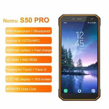 "Nomu S50 Pro 2019 Smartphone Android 8.1 IP69 IP68 Waterproof Shockproof Mobile Phones 5.72\"" HD 8MP+16MP NFC Fingerprint+Face ID"