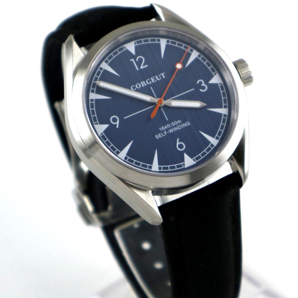 лучшая цена Brushed 39mm men's watch blue dial sapphire glass 21 jewels MIYOTA Automatic movement mens Watch