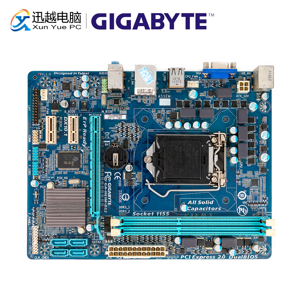 Gigabyte GA-H61M-DS2 Desktop Motherboard H61M-DS2 H61 LGA 1155 For Core I3 I5 DDR3 16GB Micro-ATX Used Mainboard