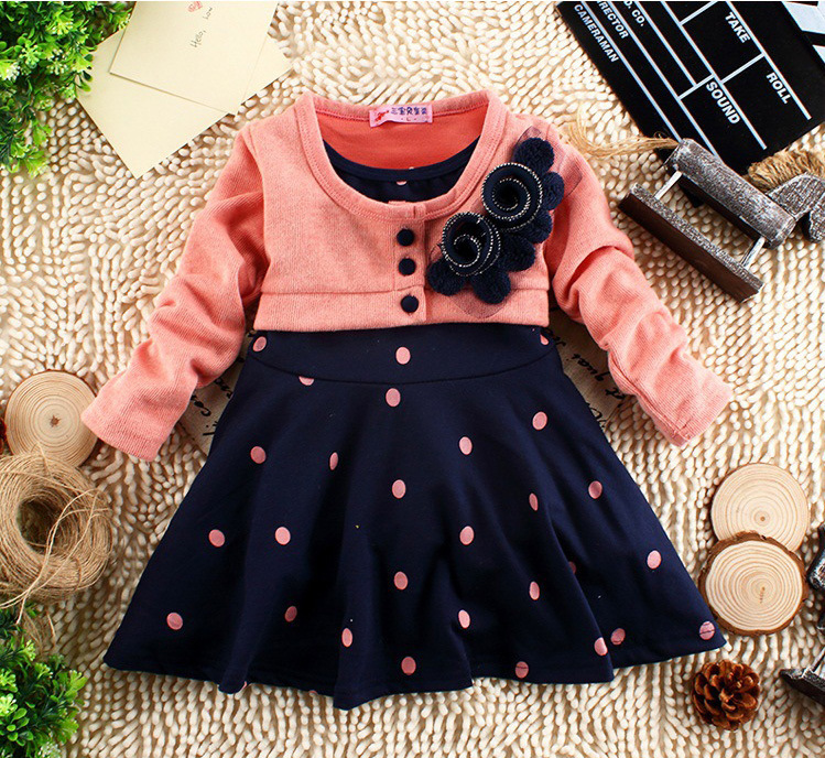 new 2018 summer 1-6 years child clothing children clothes corsage girl dress dresses baby Princess dress polka dot mock two pcs