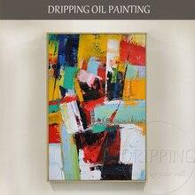 אופנה קיר אמנות יד מצויר עשיר צבעים תקציר שמן על בד גדול מברשת סכין מופשט שמן ציור עבור סלון