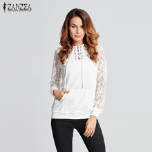 ZANZEA Newest 2016 Spring Autumn Women Sexy Hoodies Sweatshirts Long Sleeve Hat Pockets Splice Lace Casual Solid Pullovers
