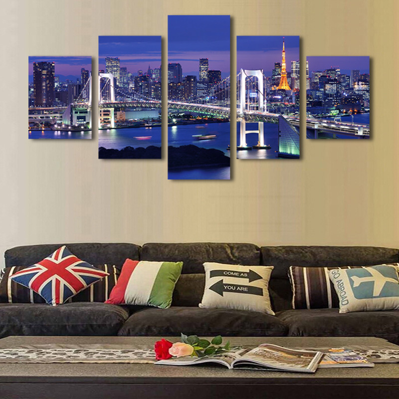 2017 Hot Sales Withframed 5 Panels Picture New York City HD Canvas Print Painting Artwork Wall Art painting Wholesale15