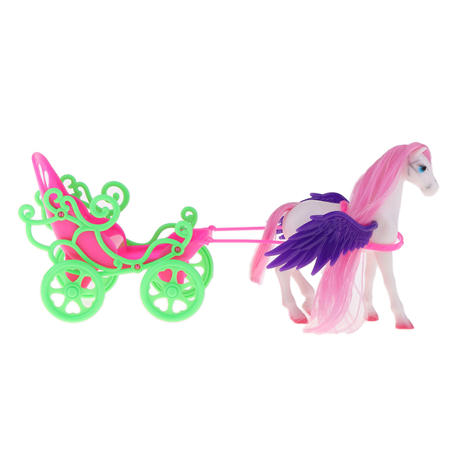 1/6 Princess Doll Playset Horse with Wing Carriage Kids Play House Toy Accessories 5