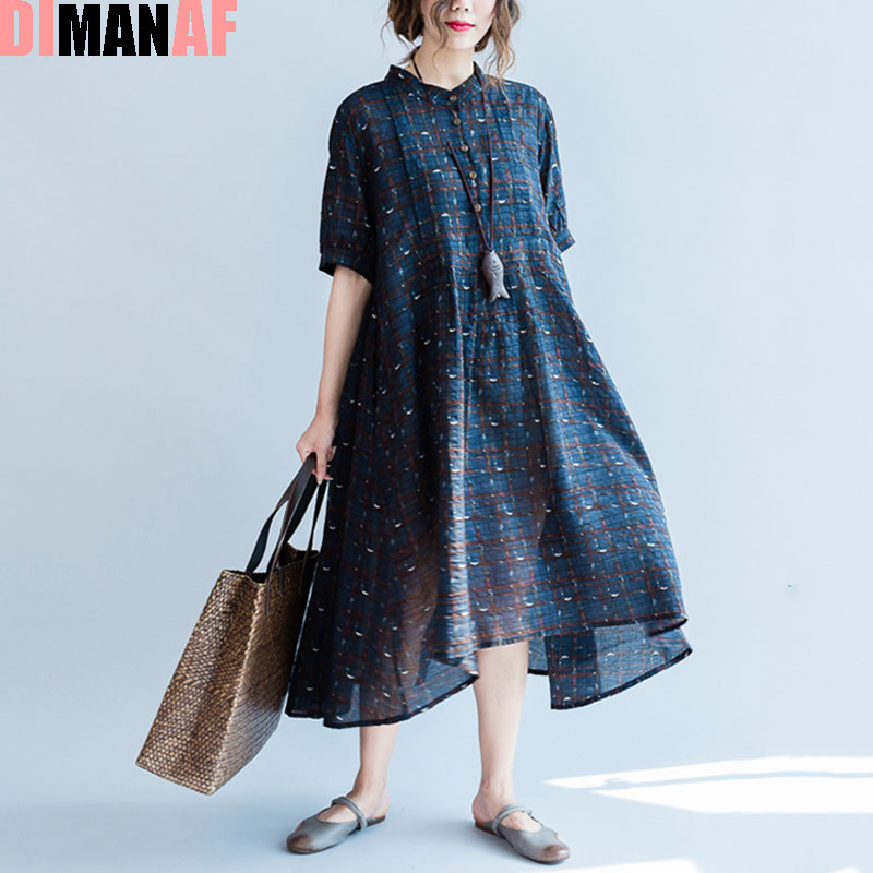 DIMANAF Women Plus Size Dress Summer Style O-Neck Plaid Print Female Casual Fashion Stylish Beach Blue Retro New Dresses Buttons