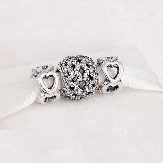 Conjuntos de contas crystal clear encantos do amor do coração do vintage fit pandora encantos pulseiras para as mulheres de prata 925 original moda diy presentes