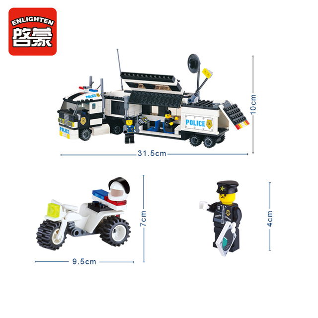 ENLIGHTEN 325Pcs Police Truck Building Blocks Set Educational DIY Bricks Kids Toys For Children Gift Compatible With Brand Block