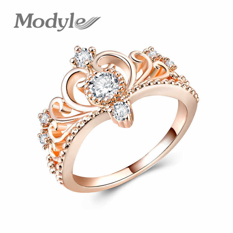 Modyle Crown Shaped Ring Rose Gold Color CZ Rings for Women Fashion Color Aneis De Ouro Zirconia Jewelry