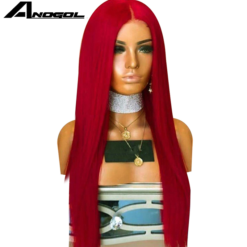 Anogol High Temperature Fiber Per Plucked Long Straight Red Full Hair Wigs Synthetic Lace Front Wig