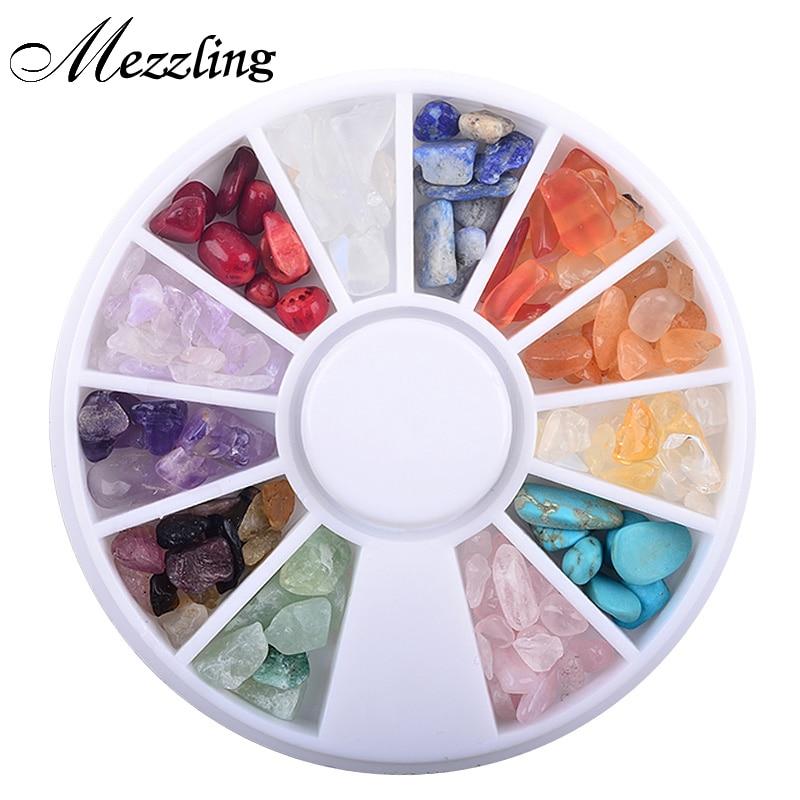 1 Kuti Guri natyror shumëngjyrësh jo i rregullt, Dekorime Arti për Thonjtë 3D Rrota DIY Aksesorë bizhuteri për gozhdë