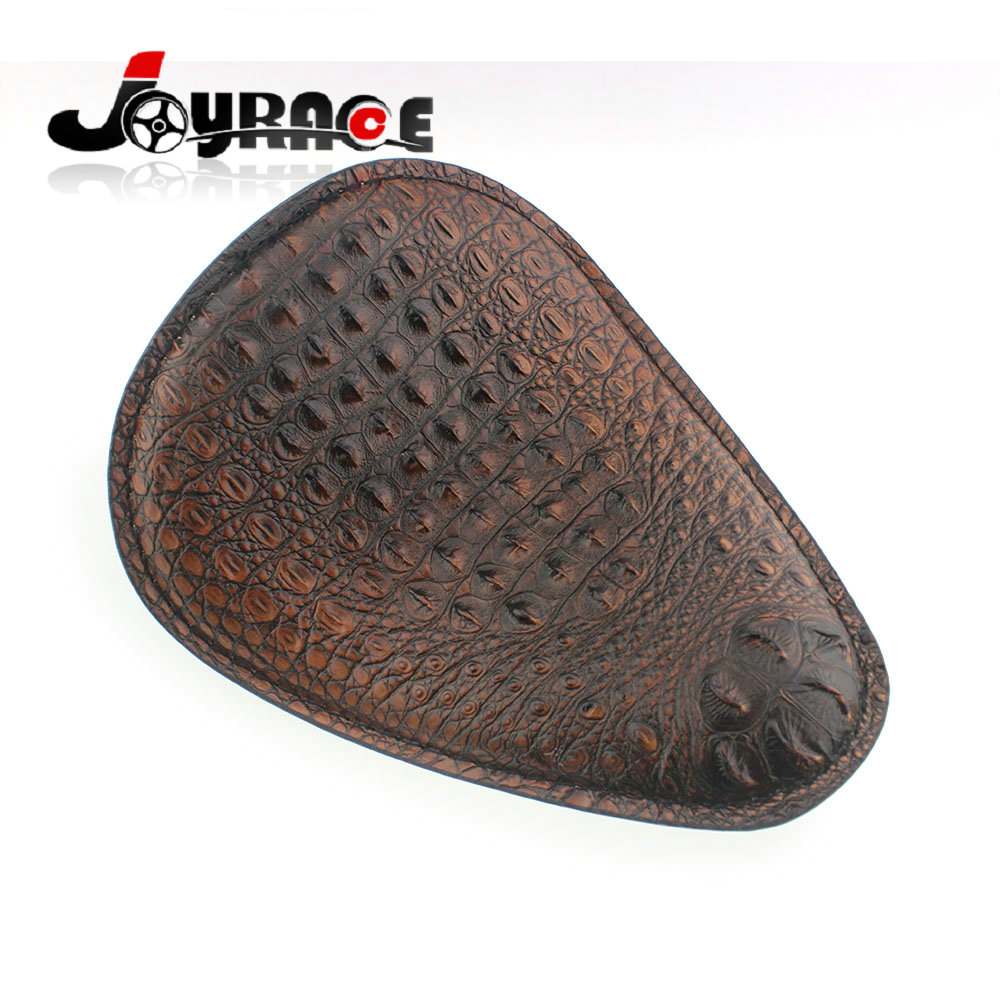 Motorcycle Brown Alligator Emboss Synthetic Leather Solo Seat w/ spring Bracket for Harley Chopper Bobber Sportster Custom motorcycle 3 spring solo bracket brown skull motorbike seat for harley sportster xs650 bobber and custom application undefined