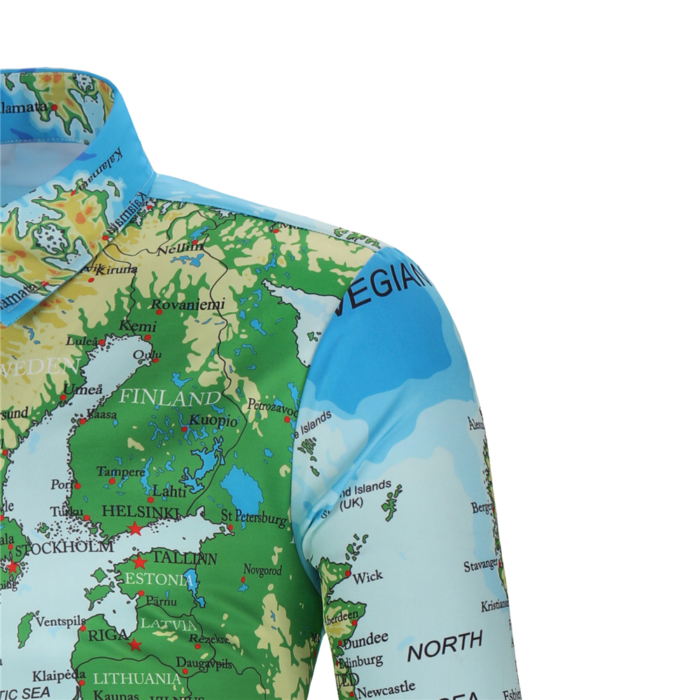 Mens Hawaiian Shirt Male Casual camisa masculina Printed Beach Shirts Long Sleeve brand clothing Free Shipping Best Selling Product Clothing Men's Clothing MENS SUIT AND JACKET