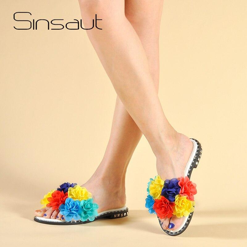 Zapatos de verano de Sinsaut zapatos deslizantes de flores zapatos de mujer chanclas planas sólidas con zapatos casuales zapatillas de aplicaciones de colores mezclados-in Zapatillas from zapatos    1