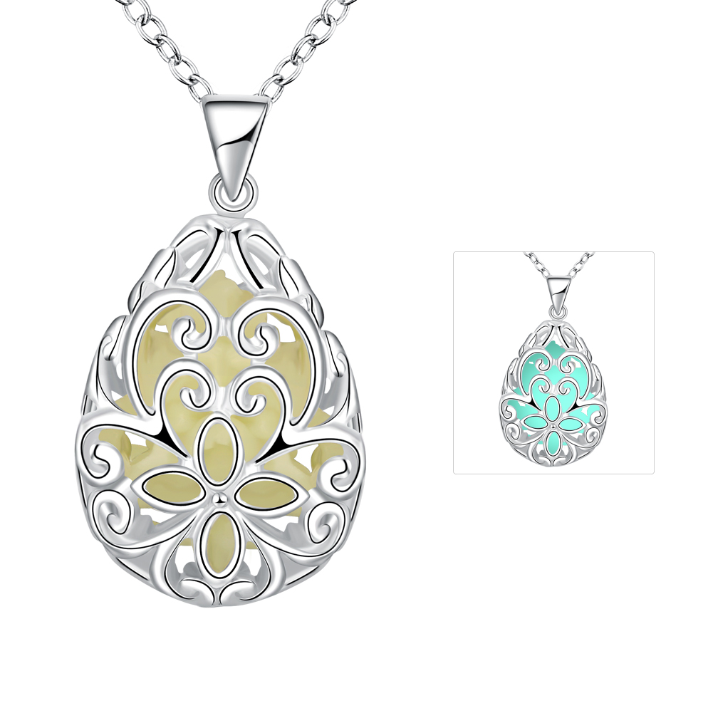 Lureme Silver Plated Jewelry Glow in the Dark Luminous Charm Teardrop Flower Pendant Necklace for Women (01003858)