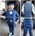 Envío libre el Nuevo estilo de juego de niño trajes conjuntos de Trajes Slim Fit Novio Esmoquin niño niña de las Flores (chaqueta + pantalones + Chaleco)