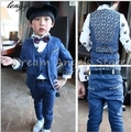 Frete grátis Conjunto terno conjuntos de menino Terno ternos Slim Fit Noivo Smoking Novo estilo menino da menina de Flor (jaqueta + calça + Colete)