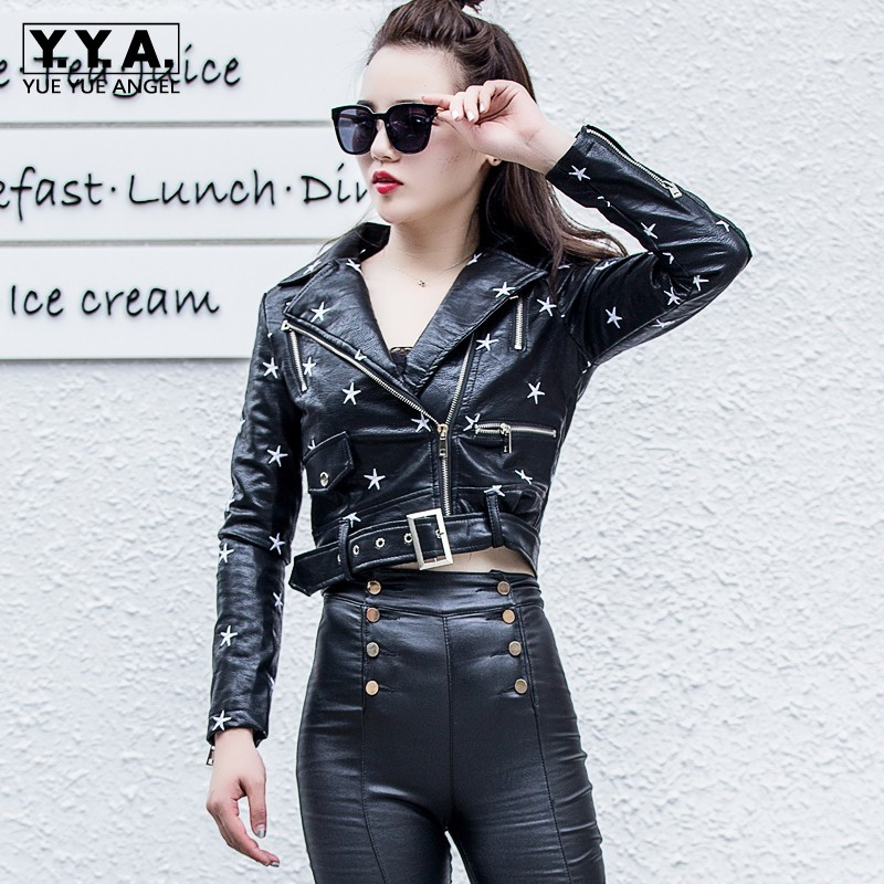 2019 Fashion High Street Women Faux   Leather   Jacket Lapel Zipper Black Pentagram Coats Ladies Long Sleeve Short Motorcycle Jacket