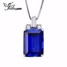 JewelryPalace Lujo Emerald Cut 9.4ct Creado Azul Zafiro Colgante Genuino 925 Joyería de Plata Esterlina para Las Mujeres Joyería Fina