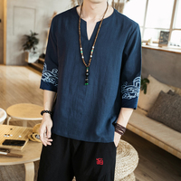 Men Casual Cotton Shirt 2019 Mens Print Chinese Style Streetwear Fashions White Male Shirts Summer Clothes