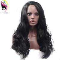 Feibin גלי שיער סינטטי תחרה מול לנשים שחורות שחור צבע 24 inches 60 ס