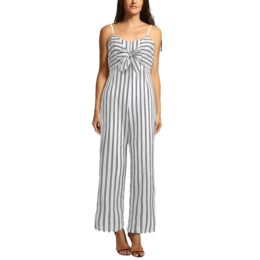 Feitong 2020 Women Jumpsuit Summer Womens Clubwear Strappy Striped Playsuit Bandage Bodysuit Party Jumpsuit