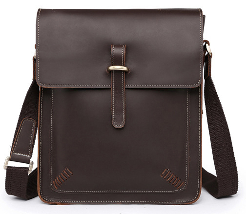 Новинка, модная мужская кожаная сумка-мессенджер из натуральной кожи, мужская повседневная сумка, портфель-слинг M133 - Цвет: Dark Brown