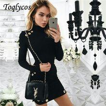 b051fe87d8c399 Wiosna i jesień strój jest nowy, to czarna torba sukienka z długim rękawem  z długim rękawem z długim rękawem wysoki kołnierz suk.