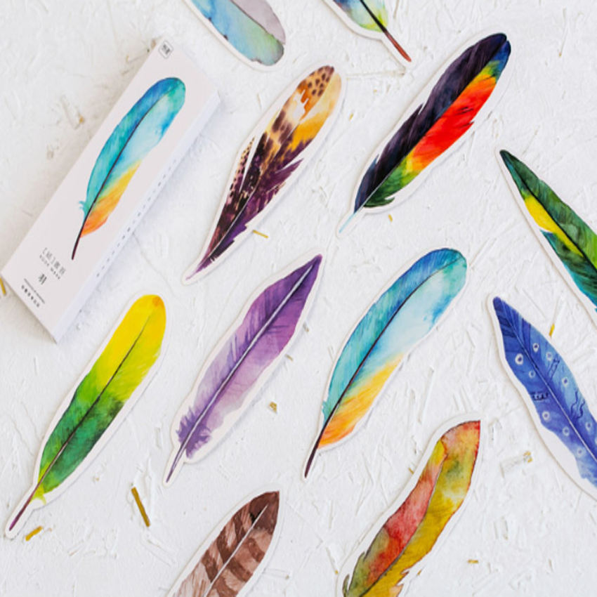30pcs/pack Vintage Feather Whale Bookmark Three Choices For School And Office For Gift