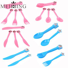 MEIDDING 10pcs/6pcs Plastic Disposable Spoon Knife Fork Cartoon Unicorn Party Supplies Wedding Kid Birthday Party Tableware(China)