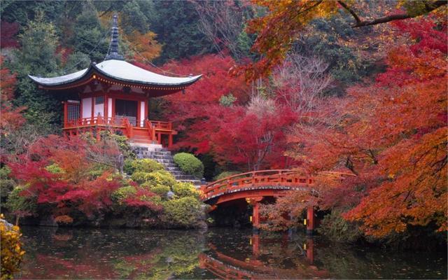 Pemandangan Indah Jepang Rumah Dan Taman Musim Gugur 4 Ukuran