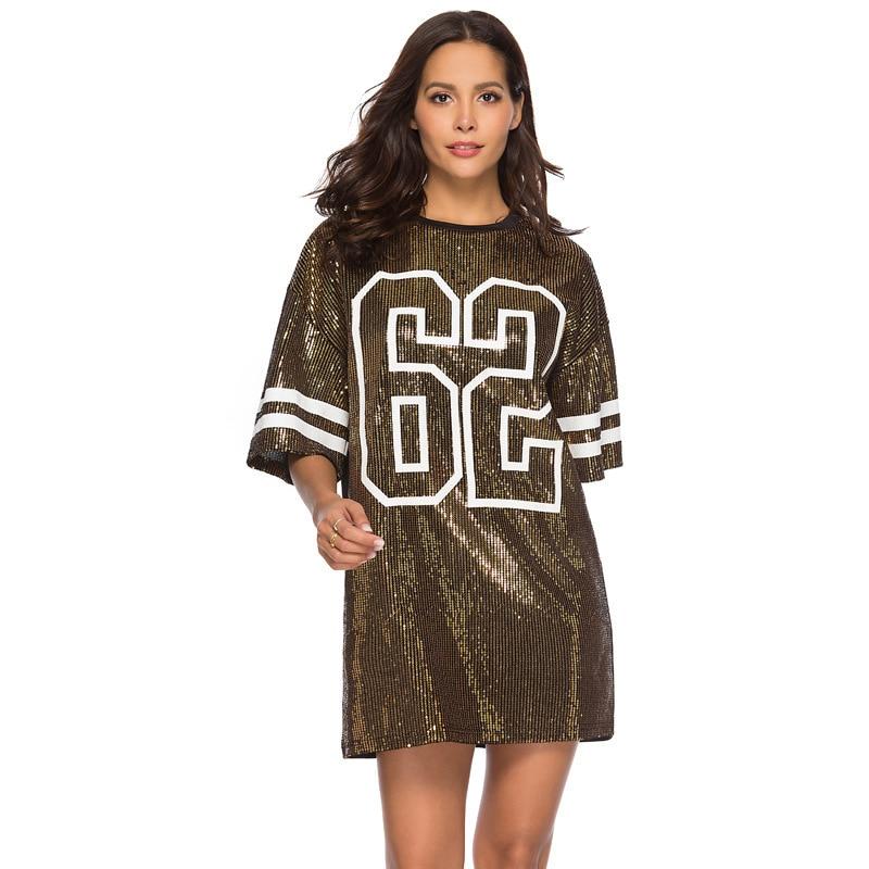 Sequins Print Loose Short Sleeve Dress 12