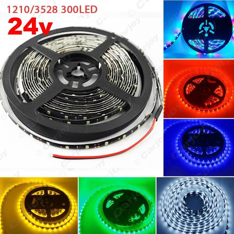 1pc 24V 500cm 5M 3528 1210SMD 300 Leds Waterproof Car Truck Decoration LED Strip font b