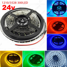 1 unid 24 V 500 cm 5 M 3528/1210SMD 300 Leds Impermeable Del Carro Del Coche decoración de la Tira de Luz LED Rojo Azul Verde Amarillo Blanco RGB # CA2135