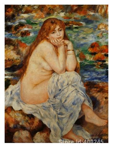 office wall art Bather Seated on a Sand Bank by Pierre Auguste Renoir decor paintings Hand painted High quality