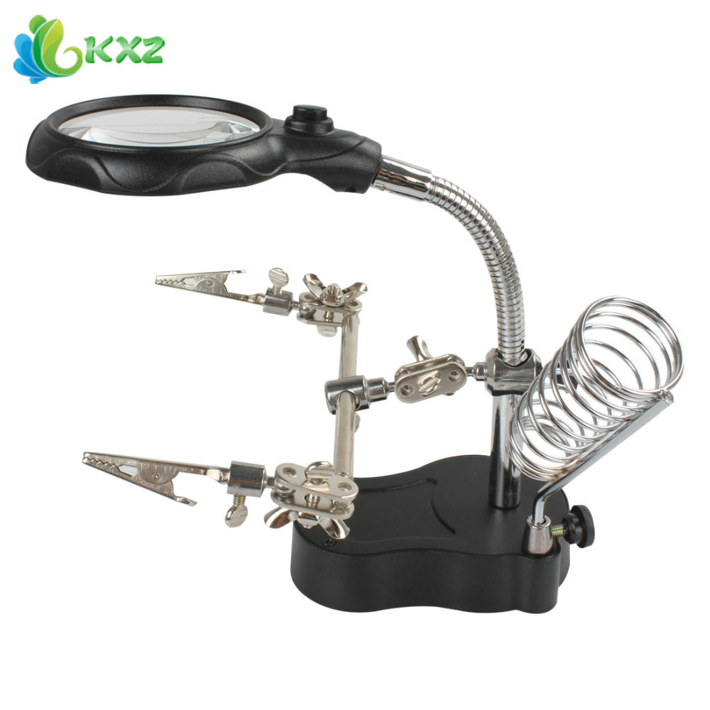 Adjustable 3 5x 12x Helping Hand Clip Led Light Magnifying