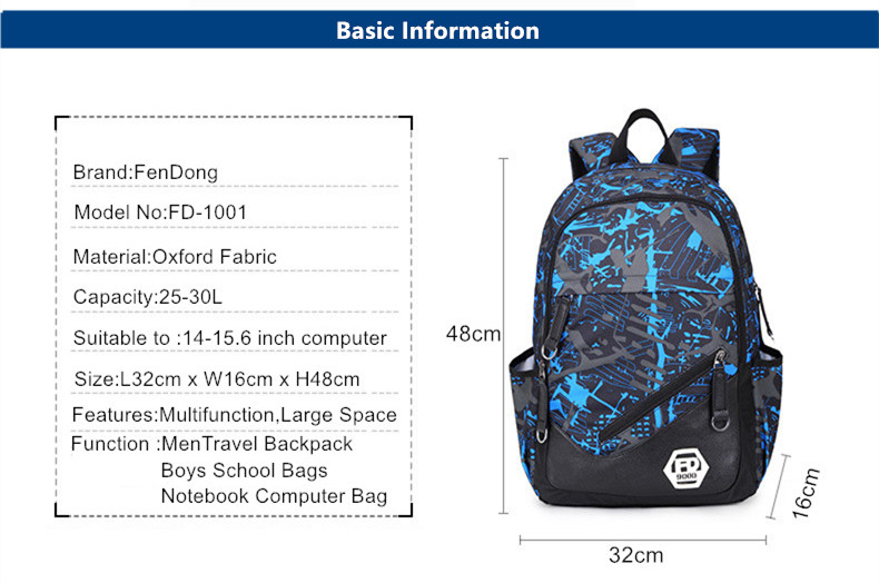 4223b7f7cc waterproof oxford fabric boys school bags backpack for teenagers pencil  case blue book bag boy one shoulder schoolbag rucksack