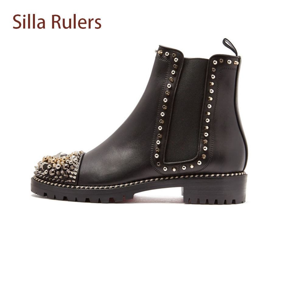 Silla Rulers Women Slip On Fashion Rivets Elastic Band Ankle Boots Ladies Round Toe Thick Heel Genuine Leather Black Martin Boot donna in genuine leather women boots shoes classic round toe thick heel ankle boots black calf leather ladies boots