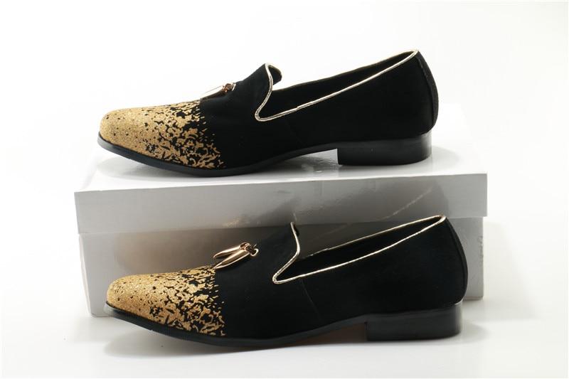Casamento Luxo Apartamentos Dente Mocassins Tubarão Homens Festa Dos Veludo Okhotcn Metal De Sapatos Handmade Assinatura Schoenen Do Ouro gRcUAS
