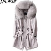 AYUNSUE 2018 Women's Real Fur Coat Sheep Shearing Coats With Natural Raccoon Fur Collar Hooded Winter Wool Female Jacket WYQ1553
